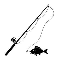 Fishing rod vector icon.