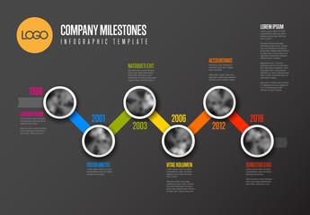 Horizontal Zigzag Timeline Infographic Layout