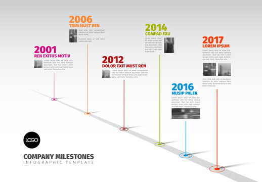 Colorful Diagonal Timeline Layout 3
