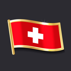 flag of  Switzerland in the form of badge, flat image