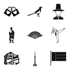 Asian country icons set, simple style
