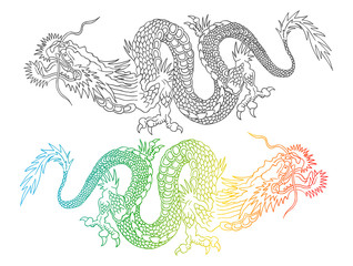 Colorful and black chinese dragons.