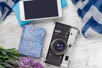Mobile phone power bank camera with flowers shawl travel