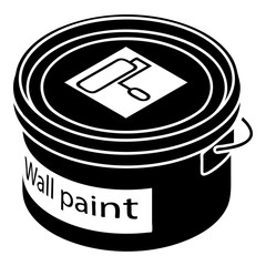 Wall paint bucket icon, simple style