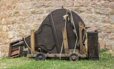 Large traditional forge bellows wood and leather