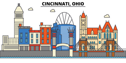 Cincinnati, Ohio. City skyline: architecture, buildings, streets, silhouette, landscape, panorama, landmarks. Editable strokes. Flat design line vector illustration concept. Isolated icons