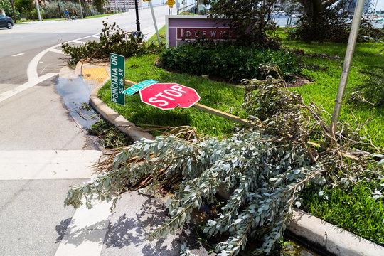 Destruction after catastrophic Hurricane Irma came through Fort Lauderdale, FL