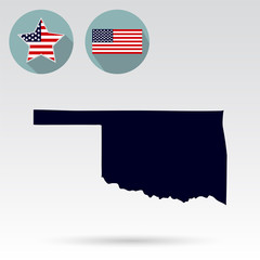 Map of the U.S. state of Oklahoma on a white background. American flag, star