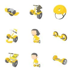 Segway, monowheel, hoverboard icons set,
