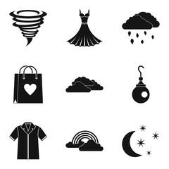 Weather clothing icon set, simple style