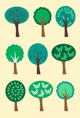 Modern Summer Trees Icons Illustrations 1