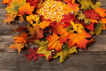 fall autumn wreath wood rustic background