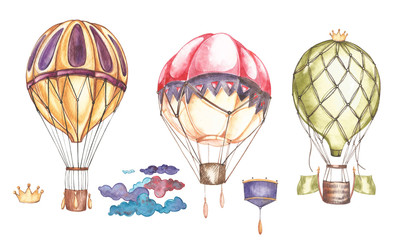Set of hot air balloons and blimps, watercolor illustration.