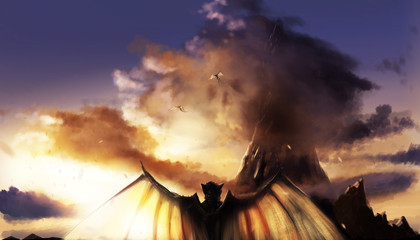 Fantasy illustration of a sunset mountain landscape with flying and standing demons with wings.