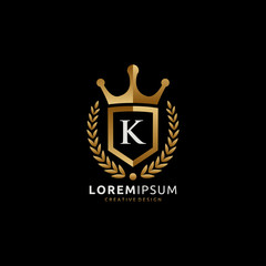 Golden Royal King K Letter  Logo