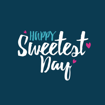 Happy Sweetest Day Vector Typography with Hearts Over Blue Background