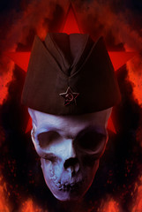 Photo of a human skull in soviet military forage cap on war fire illustration with red glowing star on background.