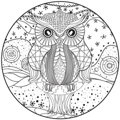 Mandala with owl. Zentangle. Hand drawn abstract patterns on isolation background. Design for spiritual relaxation for adults. Zendala. Black and white illustration for coloring. Print for t-shirts