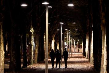 People walk in the center of Bordeaux, Southwestern France