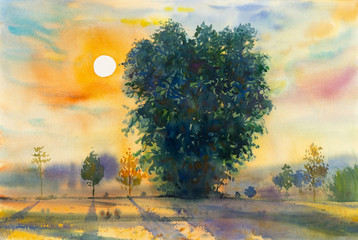 Watercolor landscape original painting colorful of evening sunset