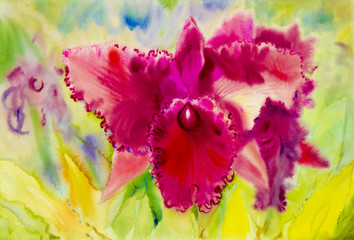 Abstract watercolor original painting purple pink color of orchid flower
