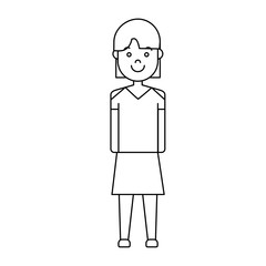 cartoon woman wearing casual clothes icon over white background vector illustration