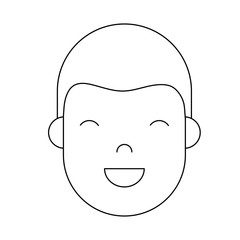 cartoon man face icon over white background vector illustration