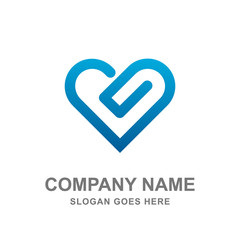 Abstract Simple Heart Love Icon Logo Vector