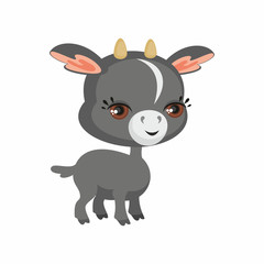 The image of cute goat in cartoon style. Vector children's illustration.