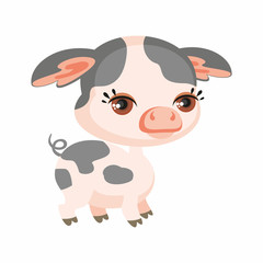 The image of cute pig in cartoon style. Vector children's illustration.