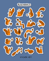Funny squirrels, sticker set for your design