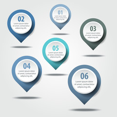 Business Infographics design elements message drop pin points
