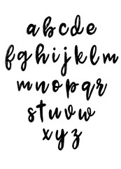 Font pencil vintage hand drawn alphabet drawing with chalk on background.