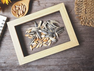 Sunflower seeds with picture frame