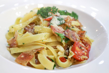 fettuccine or pasta with bacon