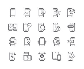 Minimal Set of Mobile Phone Line Icons