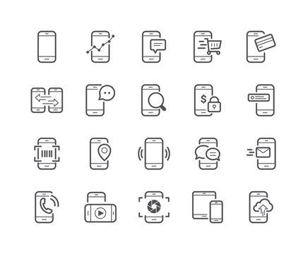 Minimal Set of Mobile Phone Line Icons