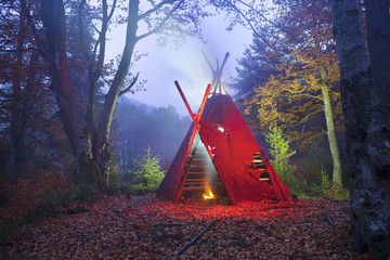wigwam tipi and bonfire