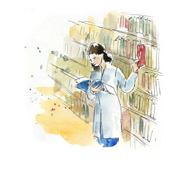 The girl studies. Library. It is a lot of books. Watercolor hand drawn illustration