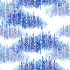 Seamless watercolor pattern, background. Blue spruce, pine, cedar, larch, abstract forest, silhouette of trees.