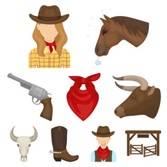 A set of pictures about cowboys. Cowboys on the ranch, horses, weapons, whips.Rodeo icon in set collection on cartoon style vector symbol stock illustration.