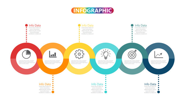Template Timeline Infographic colored horizontal numbered for six position can be used for workflow, banner, diagram, web design, area chart