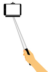 Hand Take a Self Portrait, Using Selfie Stick,Isolated on White