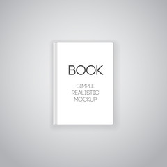 Vector illustration of realistic simple hardcovored book. Blank top view mockup for design, promotion, banners and posters.