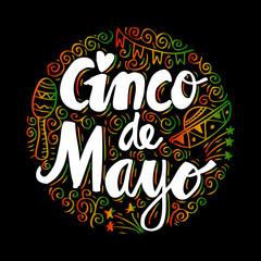 Cinco De Mayo, Hand lettering poster.