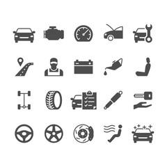Auto service flat icons.