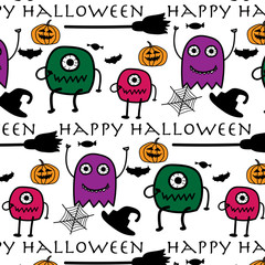Hand Drawn Pattern With Monsters Halloween.