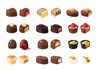 Set of chocolate covered bonbon stuffed nougat, mousse, cream. Vector illustration candy flat icon collection isolated on white.