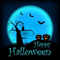 Vector halloween design template with pumpkin, owl, bats on blue moon background. Happy Halloween illustration.
