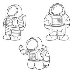 vector set of astronaut